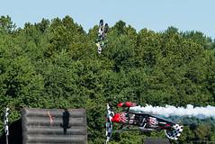 First Time! (Fly Sandman) Tags: skipstewart prometheus pitts biplane motorcycle codyelkins motocross inverted backflip jessejamesoutlawairshow airshow airplane aircraft smokeon ribboncut