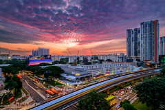 Heartland Sunset (Chye Guan, Tan) Tags: sunset urbanscape hdb hdbscape hdbheartland clementitown building architectural singapore singaporescape mrt fujifilmxpro2 fujifilm xf1024mm