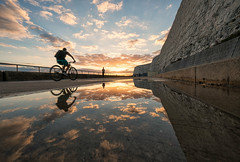 Evening Reflection (Sam_C_Moore) Tags: mirror reflections puddle coastline sunset clouds cliffs undercliff stroll evening reflective landscape scenic relaxing clycing cyclist runner brighton