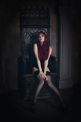 Throne room (Chizury) Tags: ifttt 500px girl redhead model fashion beauty beautiful sexy female hair glamour studio pretty white face young cute red light black one person sight sitting throne underwear indoor lin lingerie stocking caucasian eyes moskva moscow russia ru