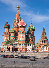 (Saint Basil's Cathedral) (Nickolas Titkov) Tags:            nikond200  russland moscow moskau 2010 russia redsquare basilius kathedrale saintbasilscathedral church architecture building bright roof tower spring sky blue