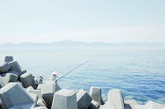 (Tridentz   ) Tags: gr ricoh 28mm f28 wide japan aoshima shikoku sea sky blue summer 2016 fishing