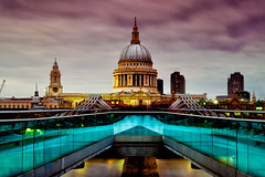 St Paul's Cathedral from Millennium Bridge, London (justinclayton99) Tags: 2015 uk london fuji fujifilm xt1 colour color st pauls stpauls cathedral le long exposure dusk river thames blue millennium bridge church dome architecture skyline building october