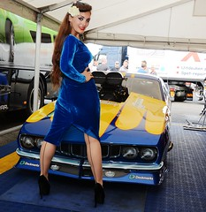 Holly_9665 (Fast an' Bulbous) Tags: plymouth cuda promodified drag race car track santa pod england produtch fast speed power people girl woman chick babe blue dress long brunette hair high heels stilettos stockings hot hotty sexy