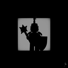 Shadow (240/100) - Frightening Knight (Ballou34) Tags: 2016 650d afol ballou34 canon eos eos650d flickr lego legographer legography minifigures photography rebelt4i stuckinplastic t4i toy toyphotography toys rebel stuck plastic photgraphy blackwhite light shadow enevucube minifigure 100shadows helmet shield frightening knight mace