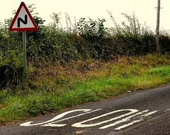 SLOW (simongavin83) Tags: road tarmac sign corner writing countryside slow bend country letters hedge roadsign asphalt trafficsign bitumen countryroad warningsign countryroads tarmacadam hedgeline ourdailychallenge nikond5100