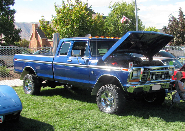 blue classic ford truck vintage 4x4 diesel pickup pickuptruck customized 1978 custom cummins stacks supercab madeinusa americanmade fourwheeldrive f250 34ton eyellgeteven