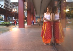 Introducing Allison (michael.veltman) Tags: red woman white chicago reflection beautiful tank dress rainy