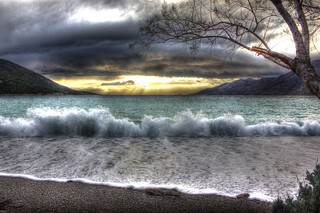 Dramatic weather on the beach