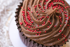 Chocolate perfection (The Green Album) Tags: birthday red party food dark sweet chocolate rich eat cupcake sprinkles icing swirls luxury frosting piped