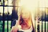 (Amanda Mabel) Tags: light portrait sun sunlight fence hair gold spring model glow bokeh joanna portfolio amandamabel