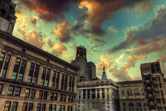 William Penn (dbnunley) Tags: city art philadelphia skyline skyscraper canon buildings photography twilight hdr 60d fractalius topazsimplify