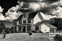 Old Farm House (Baab1) Tags: blackandwhite bw clouds hauntedhouse oldfarmhouses hunntingtown smokyroad calvertcountyrealestate