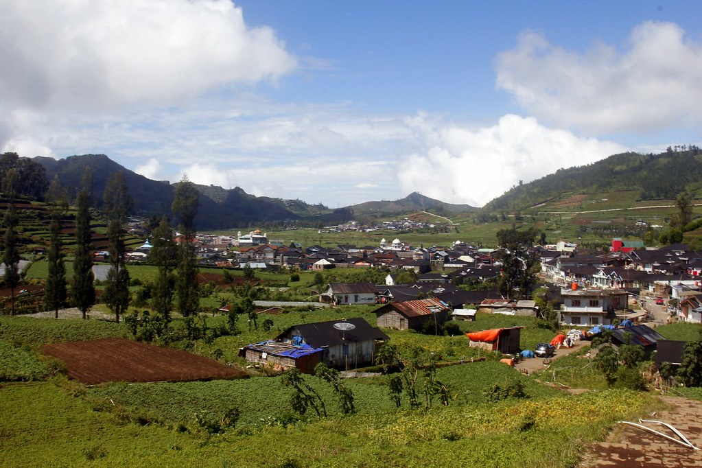 Great views on the Dieng Plateau, Central Java, Indonesia