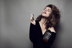 (Insomniac Freak) Tags: portrait black girl beauty fashion female hair studio cigarette smoke lips jackdaniels blacknails fulllips