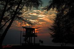Lifeguard Tower at Teluk Balok (sydbad) Tags: travel blue sunset sea sky sun color tower art beach nature water yellow clouds sunrise canon landscape fun photography eos is photo asia day photos lifeguard ii malaysia l 5d usm ef f4 mk kuantan pahang cherating 24105mm baserah