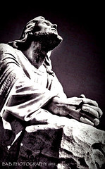HIS HANDS ( B.H.B. PHOTOGRAPHY ) Tags: blackandwhite bw white black face statue rock stone canon hair georgia hands flickr robe praying jesus lord he savior rested looing mariettageorgia bhbphotography bhbphotography