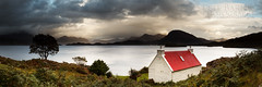 Loch Torridon in Scotland (Pete Barnes Photography) Tags: roof red sea sky house mountain seascape beauty clouds landscape photography scotland highlands moody photographer view cottage peaceful scene panoramic loch torridon