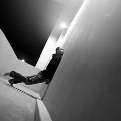 Insomnia (Simon McCheung) Tags: light portrait urban white man black feet geometric wall angel self dark model dof sleep hoody 365 insomnia leap selfie
