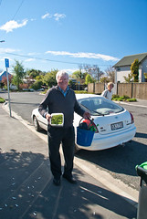 My Name is Bob (Jocey K) Tags: road street trees houses christchurch sky people plants signs car fence buildings bucket vehicles nz