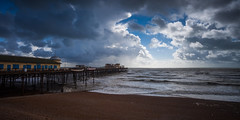 Hastings Pier Parts the Clouds (Olly Plumstead) Tags: old uk autumn england seascape cold rain canon pier kent mark windy stormy september burnt ii handheld 5d hastings olly plumstead 5d2