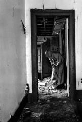 Haunted Sanity (Jonathan Dacey) Tags: door blackandwhite bw selfportrait abandoned nikon creepy d200 cloaked jonathandacey jdacey tokina1116mmf28dxpro