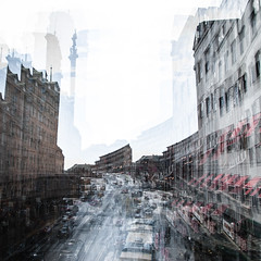 Dagens foto - 359: Back to the Wild (petertandlund) Tags: city urban color cars buildings square sweden stockholm doubleexposure multipleexposure 365 sthlm 08 kungsgatan norrmalm 359365
