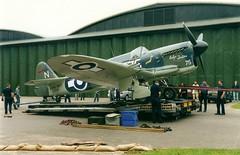 "Firefly TT1 Z2033 ""Evelyn Tentions"" leaving for Yeovilton. Duxford 25-07-2000 (Richard.Crockett 64) Tags: 2000 fighter ww2 duxford fairey firefly cambridgeshire airfield worldwartwo imperialwarmuseum royalnavy fleetairarm tt1 evelyntentions z2033"