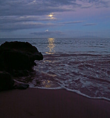 moonset over the ocean (bluewavechris) Tags: ocean sea sky moon seascape color beach water rock clouds island dawn hawaii lava shoreline scenic wave maui shore swell moonset breakingdawn