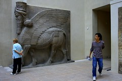 tourists and the Lamassu | Louvre (arnabchat) Tags: people sculpture paris france art museum europe louvre babylon mesopotamia lamassu 2012 mythical muséedulouvre bullman shedu arnabchat