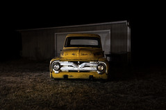 1955 Ford F100 (Curtis Gregory Perry) Tags: old usa classic ford car yellow night oregon truck portland photography photo nikon long exposure unitedstates united flash pickup f100 northamerica pdx states speedlight strobe d300                        sb910