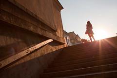 TGIF! (Che-burashka) Tags: sunset girl silhouette stairs odessa ukraine flare tgif ascending canonef28mmf18usm urbanlyric