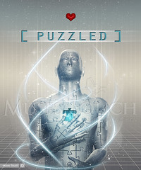 PUZZLED (MusesTouch - digiArt & design) Tags: grid robot poser heart metallic puzzle confused illustrator jigsaw magical puzzled thegalaxy photoshopextended