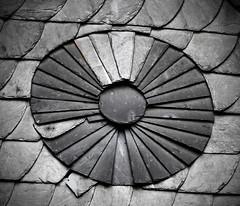 Circle (FotoTrenz NRW) Tags: bw detail monochrome circle alt mosaic wand panasonic round architektur sw rund gebude kreis fcher schiefer