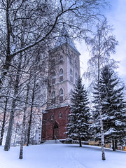 IMG_0295-Editx5 (kseniabramley) Tags: tree trees church fir tower winter finland 2009 snow white