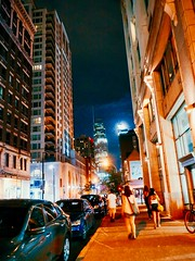 Montreal (Highburnate) Tags: montreal pq quebec downtown city urban street moon buildings architecture night walking cars sidewalk nathalie weiswasser highburnate lumix panasonic dmcgx8 gx8 mirrorless digital
