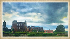 Day 240 of 366 - Storm the Castle! (editsbyjon) Tags: painterly phototoaster mextures snapseed iphonepanoramaapp panorama iphoneography iphone365 iphone kenilworth structure ruins kenilworthcastle castle field landscape sky skyline cloud clouds serene outdoor photoborder brushstroke