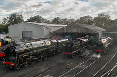 71000, 44422 & 73050 - Wansford Shed - 10.09.2011 (Tom Watson 70013) Tags: nvr nene valley railway steam gala autumn east meets west 71000 standard standard8 8mt wansford shed station 44422 4f 73050 standard5