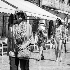 Old Town Dubrovnik, 2016(16) (S.R.Murphy) Tags: aug2016 canon6d croatia dubrovnik socialdocumentary streetphotography bw blackandwhite women ladies sunglasses incognito squareformat monochrome people