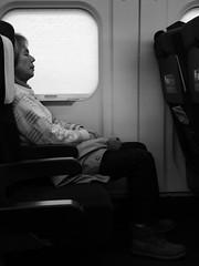 It's a long journey... (seikinsou) Tags: japan spring omiya kanazawa shinkansen jr railway train travel hakutaka windowseat bw blind