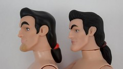 Deluxe vs Designer Gaston 12 Inch Dolls - Shirtless - Lying Down - Closeup Right Side View (drj1828) Tags: us disneystore dfdc heroesandvillains disneyfairytaledesignercollection 2016 gaston purchase deboxed deluxedollgiftset beautyandthebeast comparison undressed outfits shirtless 12inch