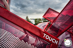 Touch (Think James Photo) Tags: park pink red summer sculpture music cloud white color colour london art strange sport architecture stars rising dance village cola touch coke structure fabric panels olympic hdr highdynamicrange stratford hdri 2012 moduler movetothebeat