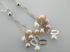 Pearls, pink & white, silver drop earrings