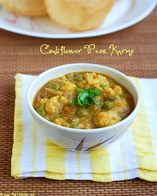 cauliflower peas kurma recipe
