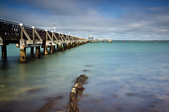 Yarmouth Pier (thecheekyscamp) Tags: colour water canon pier long exposure flat yarmouth isle wight 60d