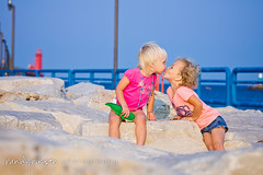 Lakeshore Love (randyr photography) Tags: haven cute sisters pier toddler kissing sony grand lakemichigan lakeshore boardwalk alpha toddlers sal70200g puremichigan slta77v