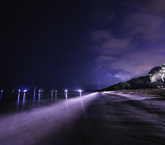 Pinarellu la nuit, Corse - 2 (VdlMrc) Tags: longexposure light sea sky panorama cloud mer france beach water night star sand nikon eau corse lumire corsica sable wideangle clear ciel nuage nuit plage toile mditerrane pinarellu longueexposition d90 grandangle nikkor1024mm