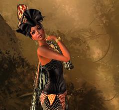 Monarch of all she surveys (KymSara) Tags: hat fashion blog hats jewelry chapeau gown ethnic sequoia morgane laq masaimara wtg tresbeau
