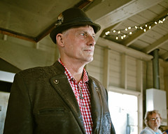 The man in a Bavarian hat (Vorona Photography) Tags: wedding summer people usa field hat weather hammer america photo washington cool angle state pacific northwest image fort united picture style august retro jacket photograph german richard coastline ritual states carrie thor depth pagan bavarian germanic ritualistic thors worden