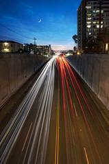 rOaD rAgE ! (Lee Sie) Tags: road street city urban moon buildings lights downtown traffic bluesky hillcrest lightstreaks